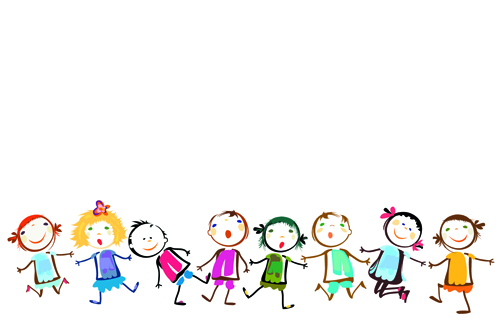 cute powerpoint background for kids children holding hands vector